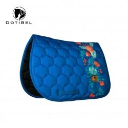Saddlecloth DotiBel royal bleu/red flowers
